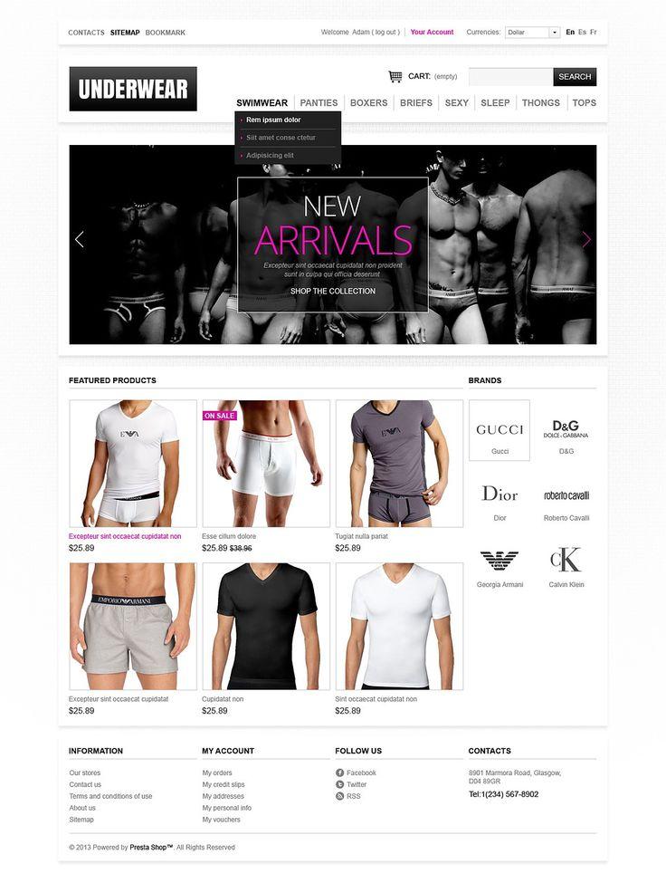 9+ Best Mens Underwear Store Ecommerce PrestaShop Themes - Men's underwear PrestaShop Theme