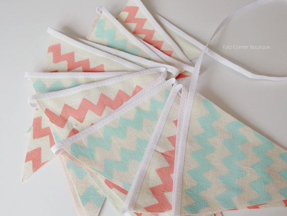 Aqua and coral baby shower bunting banner by KatzCornerBoutique