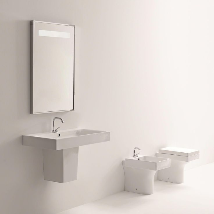 Cento Ceramic 40″ Semi Pedestal Bathroom Sink with Faucet and Overflow