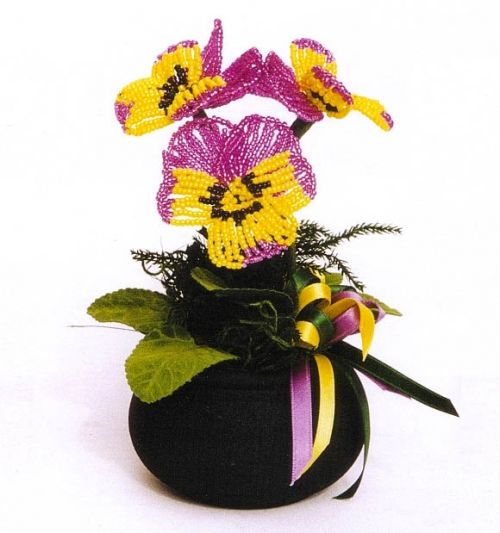 How to weave a flower pansy (Russian)
