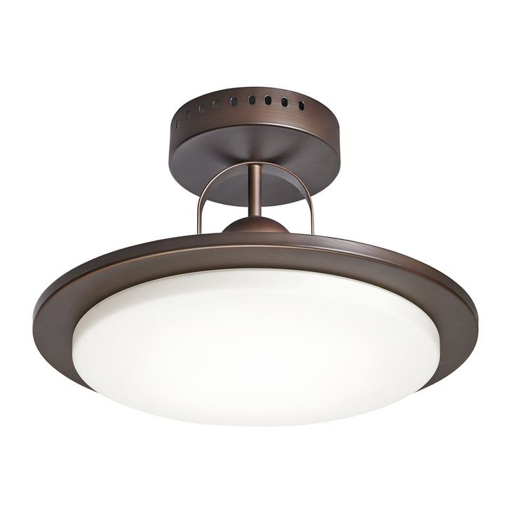 Kitchen Ceiling Lights Flush Mount: Shop Kichler Lighting 14.57-in W Oil Rubbed Bronze Frosted