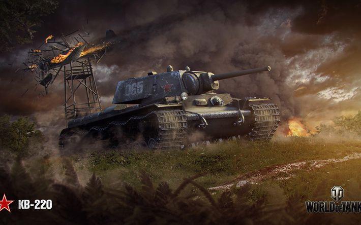 Download wallpapers World of Tanks, WoT, KV-220, USSR, heavy tank, online games, tanks