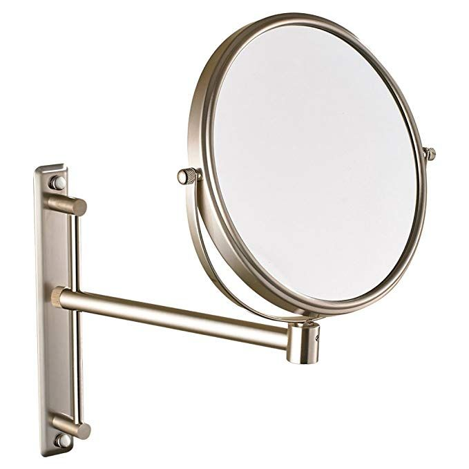 Gurun Two Sided Swivel Wall Mount Magnifying Mirror Brushed Nickel With 10x Magnification 1106n 8 Inches 10x Review Magnifying Mirror Wall Mounted Mirror Mirror
