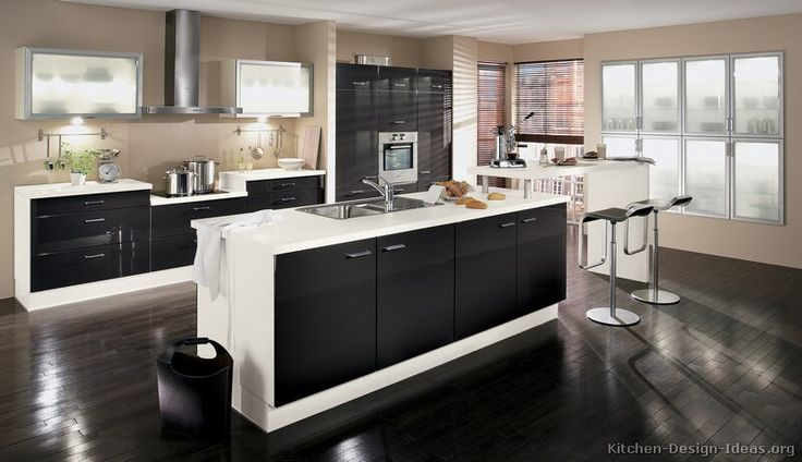 Black And White Kitchen Google Search Pinterest Cupboards Modern Cabinets One Wall