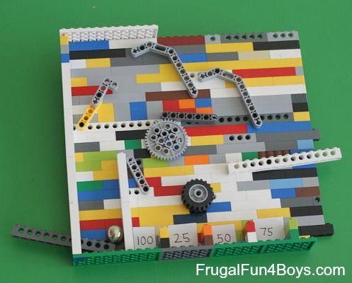 Build a Lego Pinball Game  http://frugalfun4boys.com/2014/04/28/build-lego-pinball-game/