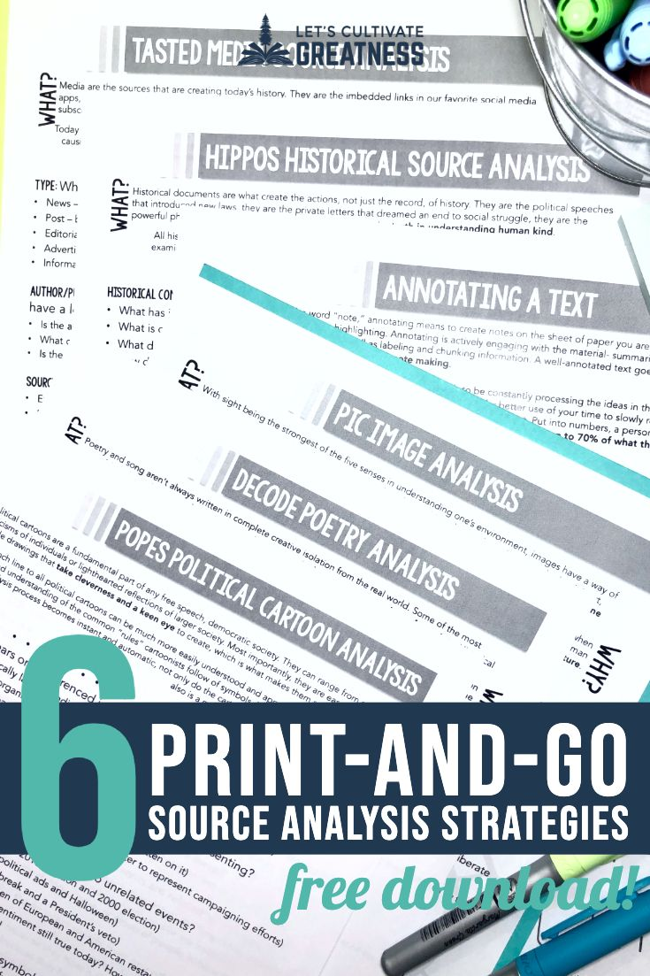 Download Your Very Own Free Source Analysis 6 Pack To Get Your Students Deeply Analyzi Articles Activities High School Social Studies Social Studies Activities