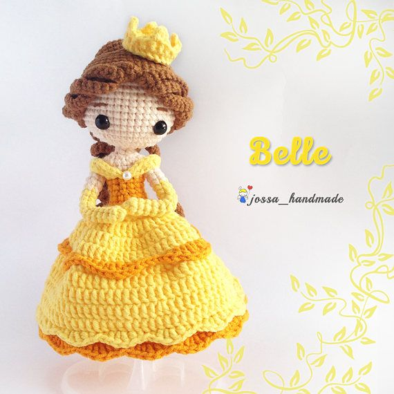 Princess Belle Inspired Crochet Doll Pattern   PDF Crochet