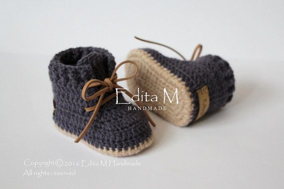 Crochet baby booties baby shoes boots baby boy от EditaMHANDMADE