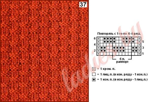 Коллекция узоров с рельефными квадратами спицами