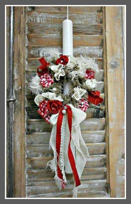 Πασχαλινή Λαμπάδα Στεφανάκι με λουλούδια 20€