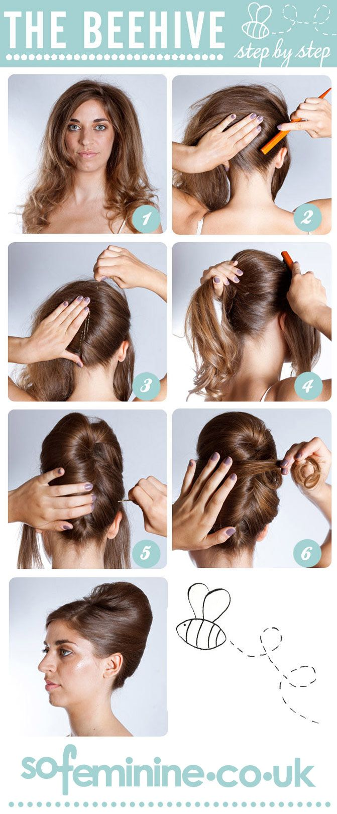 Want to get a beautiful buzzing beehive? Find out how with our step by step guide: http://www.sofeminine.co.uk/hair/how-to-do-a-beehive-hairstyle-som2085.html