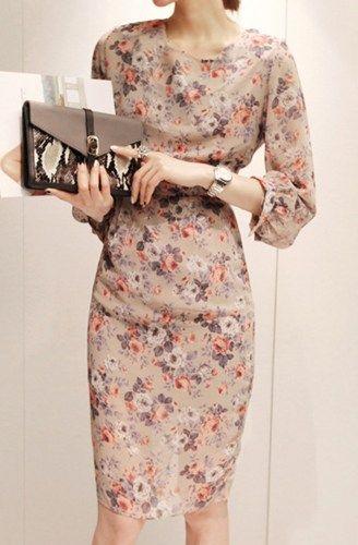 Vintage Inspired High Waist Beige Floral Chiffon Sheath Dress