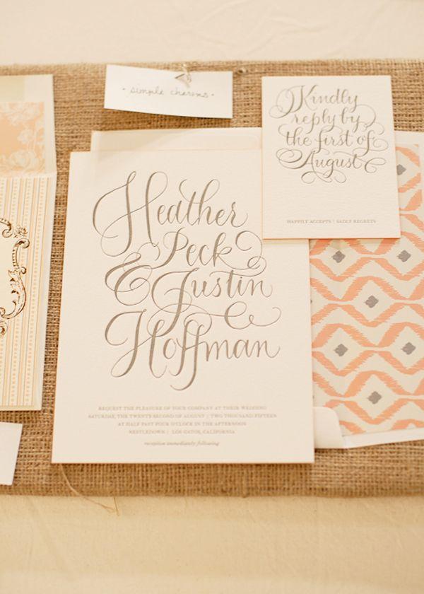 Beautiful calligraphy invitation by Bella Figura