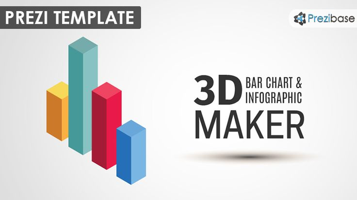 Prezi Template for creating awesome 3D bar Charts.  Make your statistics more interesting and present them with colorful 3D bars.  Template contains 7 different colors and 2 pieces: a cube and a little more flat bar.  Endless possibilities: combine the elements and create unique layouts.