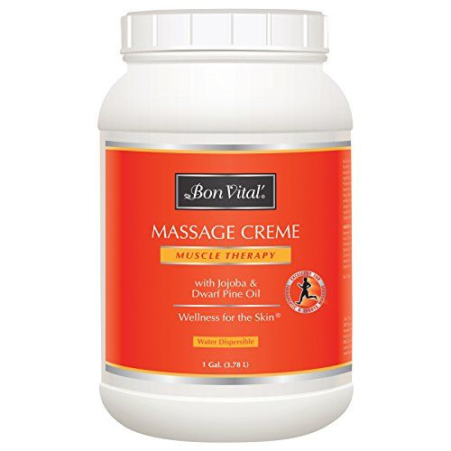 Bon Vital' Muscle Therapy Massage Crème Made with Dwarf Pine Oil and Essential Oils for a Relaxing Massage and Sore Muscle Relief, Great for Sports Massages Using Graston and IASTM, 1 Gallon Jar