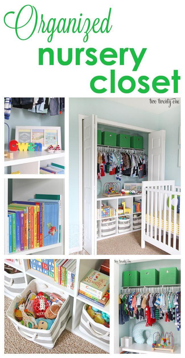 Organized nursery closet featuring The Land of Nod grey and white bins.