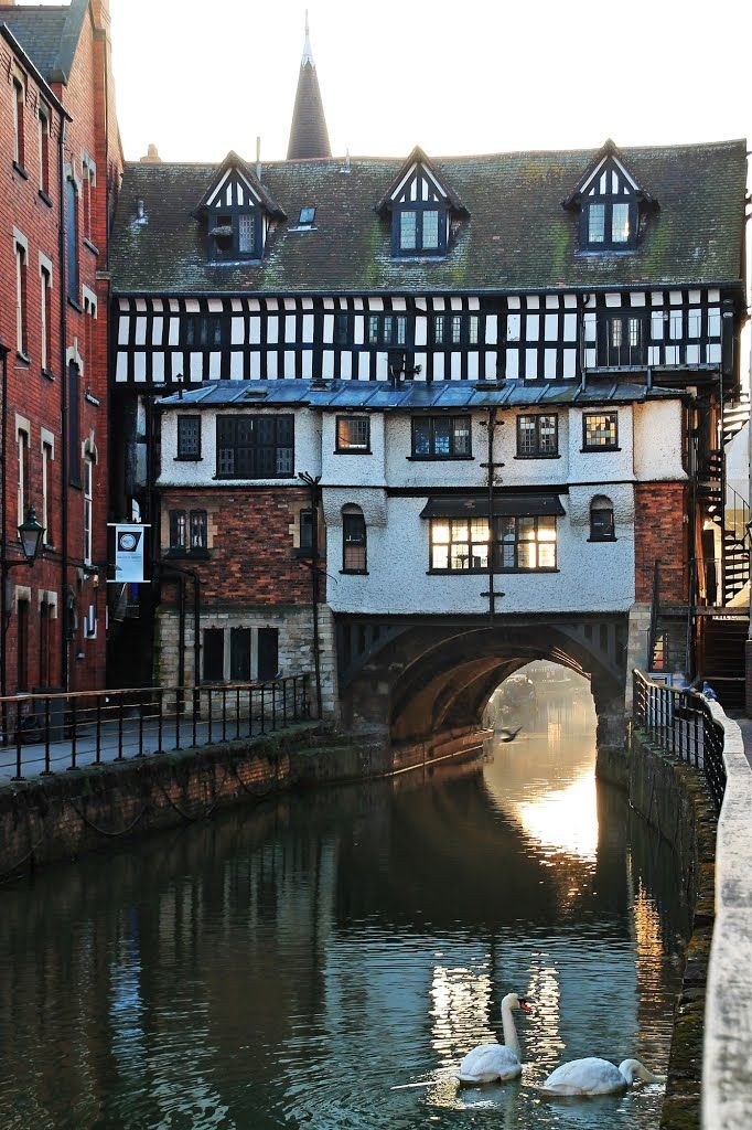 """The Glory Hole"" High Bridge, Lincoln, ca. 1160, spans the River Witham It is the oldest medieval bridge in England that still has houses built upon it."
