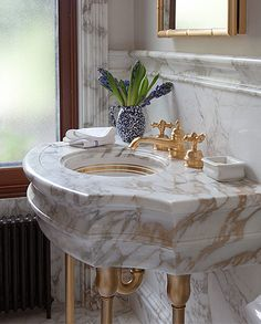 Sherle Wagner Classic Lifestyle Bathroom Marble Console