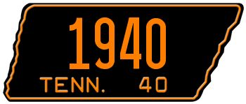 1940 TENNESSEE STATE LICENSE PLATE - EMBOSSED WITH YOUR CUSTOM NUMBER [usatn40] - $95.00 : Custom Front License Plates, Personalized Vanity Auto Plate -LICENSEPLATES.TV