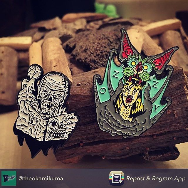 Still have a few of both in the shop grab them now!! Repost from @theokamikuma - Killer pin additions courtesy from the crypt of @munstersincorporated  Thanks man!  #ozzy #osbourne #ozzyosbourne #blacksabbath #bat #eater #hungry #necromicon #tales #from #the #crypt #cryptkeeper #pin #pins #lapelpin #lapelpins #evil #okamikuma #gid #glowinthedark  #pingame by munstersincorporated