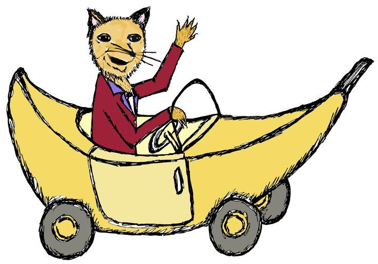 Snazzy Fox in Banana Car Sketch By Liesl Ahlers