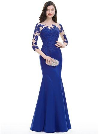 Trumpet/Mermaid Scoop Neck Floor-Length Satin Evening Dress (017105912)