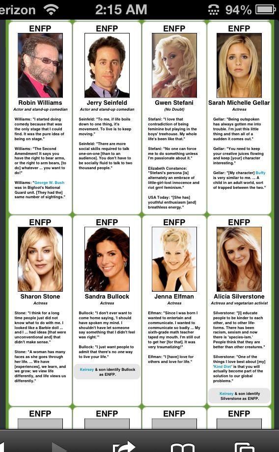 Enfp- love Gwen Stefani, Sandra Bullock and Jenna Elfman