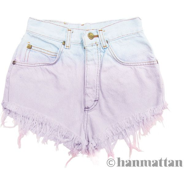 "ALL SIZES ""MACAROON"" Vintage Levi high-waisted denim shorts lilac... (130 PEN) ❤ liked on Polyvore featuring shorts, bottoms, pants, short, ombre shorts, high rise shorts, jean shorts, basketball shorts and short jean shorts"