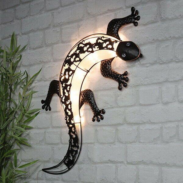 solar led wanddeko gecko wandleuchte solarleuchte solarlampe wandbild beleuchtet solarleuchten wand plüsch tierkopf