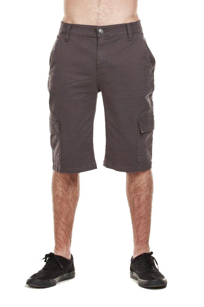 BERMUDA SARJA CARGO CINZA Bermuda masculina cargo, tecido em sarja com elastano e com bolsos laterias.  Ref: 31790160