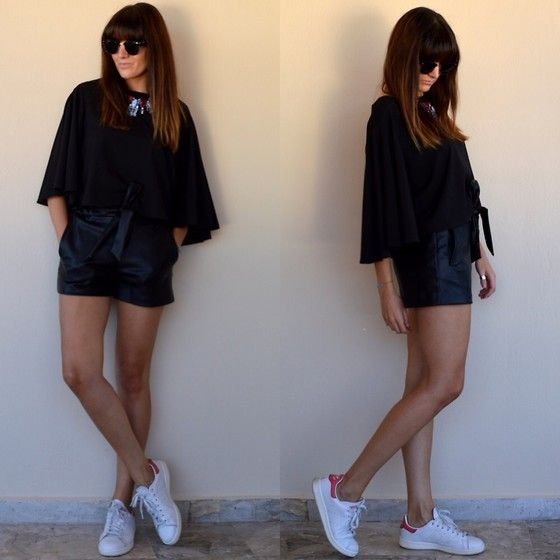 Stay on thevirgostyle.blogspot.gr #thevirgostyle #blog #greece #greek #blogger #love #like #ootd #style #fashion #outfit #lookbook #leather #shorts #zara #stoned #necklace #colorful #stansmith #adidas #sneakers