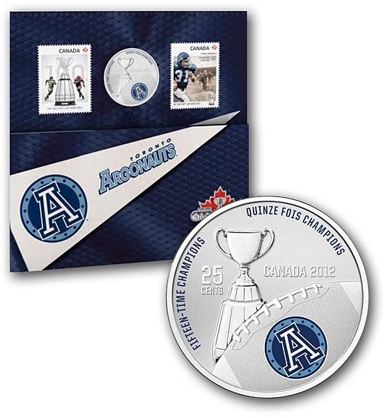 2012 25-Cent Coloured Coin and Stamp Set- Toronto Argonauts / Ensemble pièce de 25 cents colorée et timbres 2012- Argonauts de Toronto