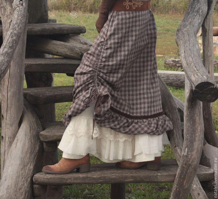 Купить Юбка теплая красивая с оборкой в бохо стиле - коричневый, в клеточку, теплая юбка