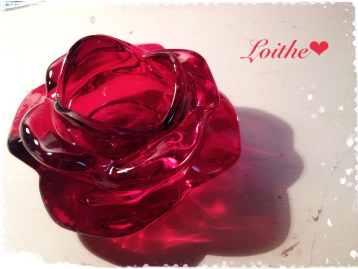 Rose glass candle holder