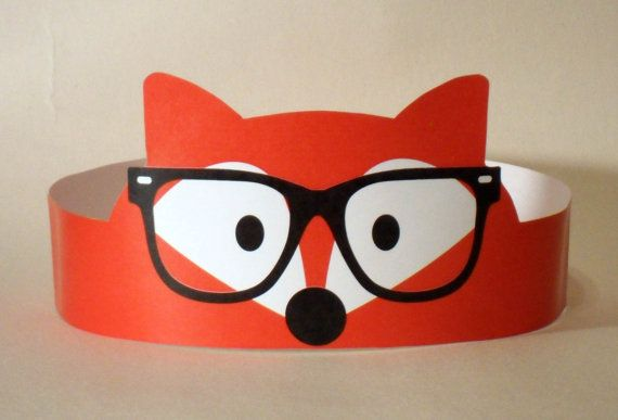 Hipster Fox Paper Crown - Printable