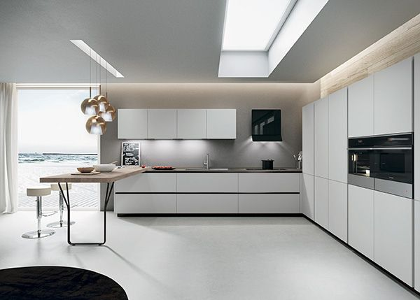 Light grey laminate doors silestone amazon volcano for Light grey modern kitchen