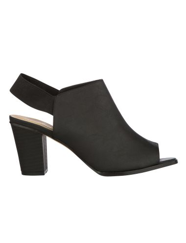 Update your shoe collection with these peep toe heels in black with an elasticated back.