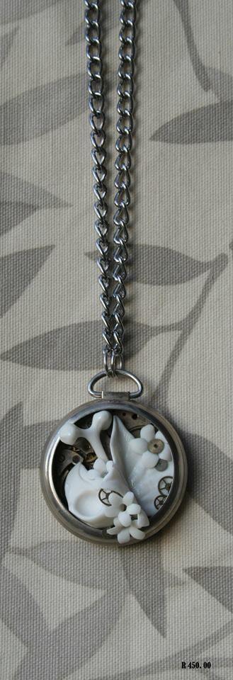 porcelain jewelry pocket watch skull bone flowers