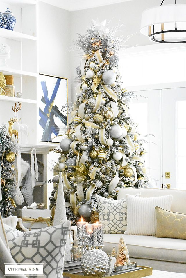 Flocked Christmas Tree Garland With Silver Gold Christmas Tree Garland Flocked Christmas Trees Creative Christmas Trees