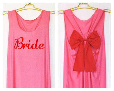 Mariée réservoir mariée équipe mariage Premium avec Bow : Dolly Bow à la main Premium réservoir avec des styles de Bow