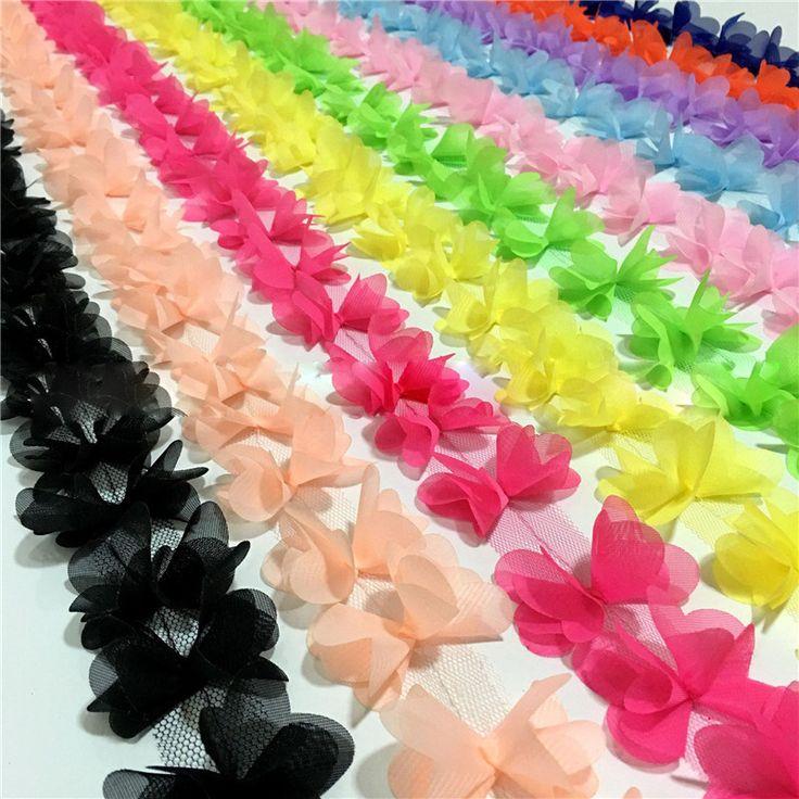 1 يارد multicolor جميلة الشيفون الدانتيل الزهور ثلاثية الأبعاد الدانتيل تقليم الدانتيل الملابس الملحقات النسيج زخرفة ديي