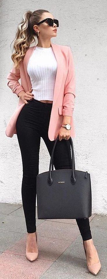#spring #outfits white crew-neck top and black fitted pants and orange blazer. Pic by @zara__streetstyle