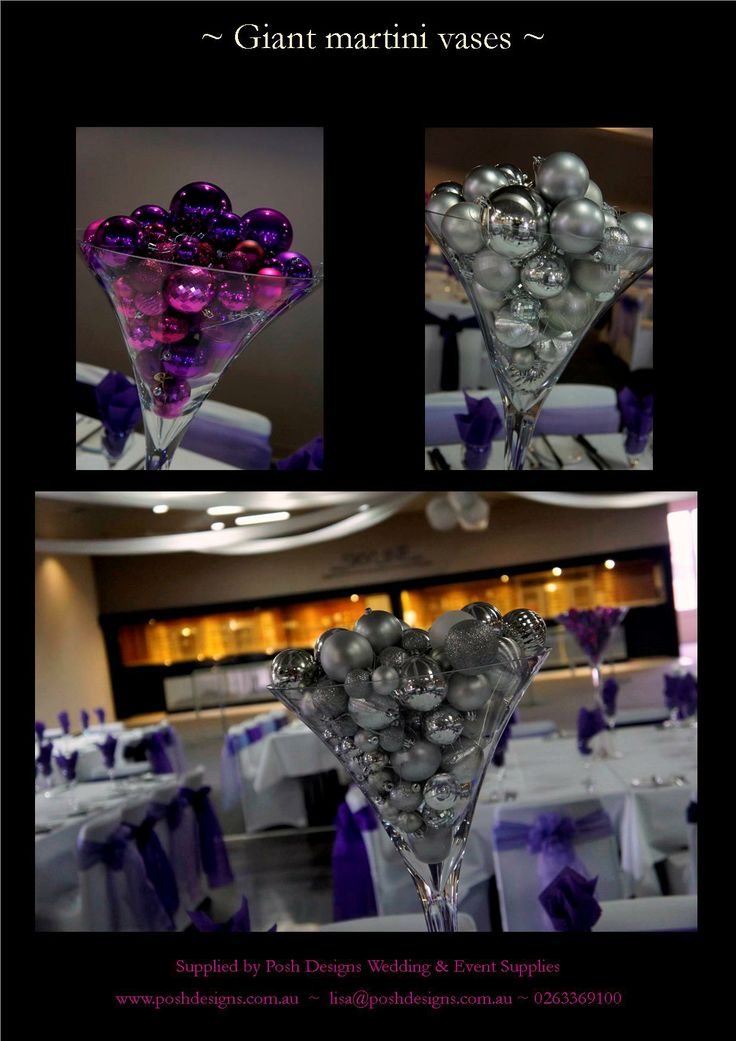 Christmas baubles table centre in purple