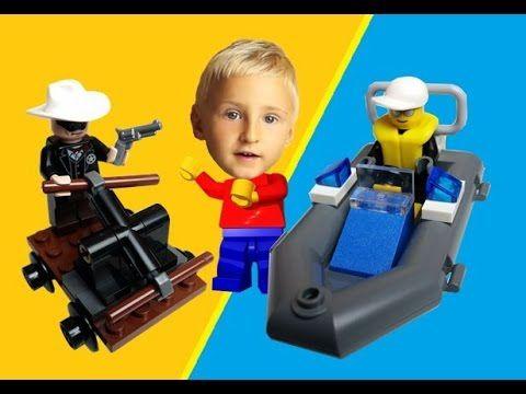 LEGO 30011 City Police Boat, 30260 The Lone Ranger. Blue Orange