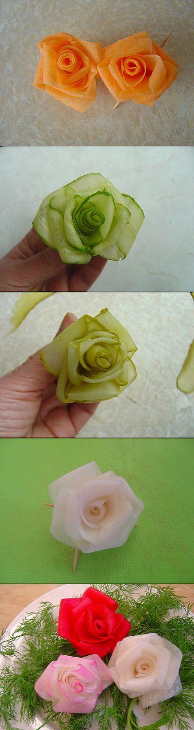 Розочки для вас! Из овощей! (пошагово) : Украшение блюд. Шаг-за-шагом | Карвинг | Постила