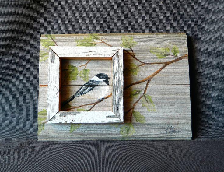 Distressed barnwood Hand painted Bird with por TheWhiteBirchStudio