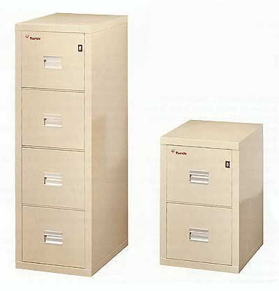 """FireKing Turtle Fireproof Files -- 22""""D 4-Drawer Vertical File . $1099.00. FireKing Turtle Fireproof Files are perfect for safeguarding your valuable records and documents. No other 22"""" file gives you as much peace of mind as the Turtle's hard-shell protection. These files protect documents for at least one hour in temperatures of over 1700 degrees. The oven-dried, asbestos-free insulation maintains this protection for a lifetime. Because of its unique steel latti..."""