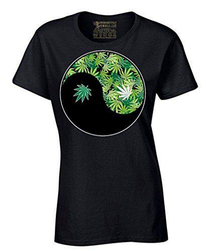 Awkwardstyles Women's Weed Ying Yang T-shirt Kush Cannabis Cool Yoga Shirt - 420 Shop
