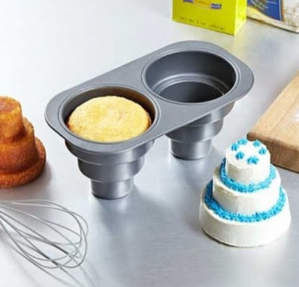 Little mini cakes! You can buy the pan on amazon.com. Type in 'Chicago Metallic Multi Tier Cake Pan 4 Cavity, 11.2-Inch by 10.03-Inch by 15-Inch' and it should come up. :-)
