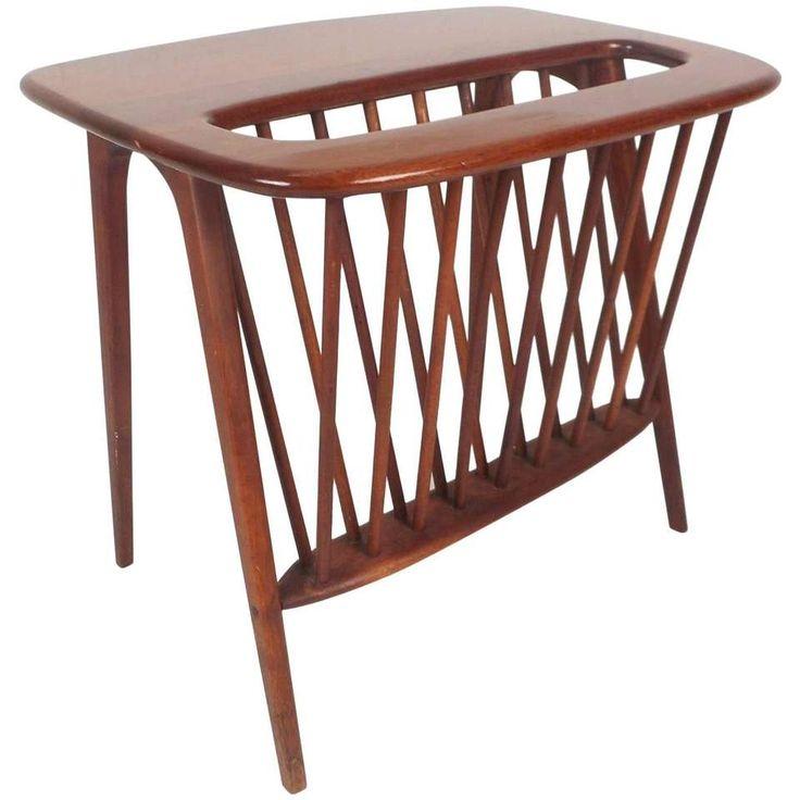 Mid-Century Modern Magazine Rack or Side Table by Arthur Umanoff 1